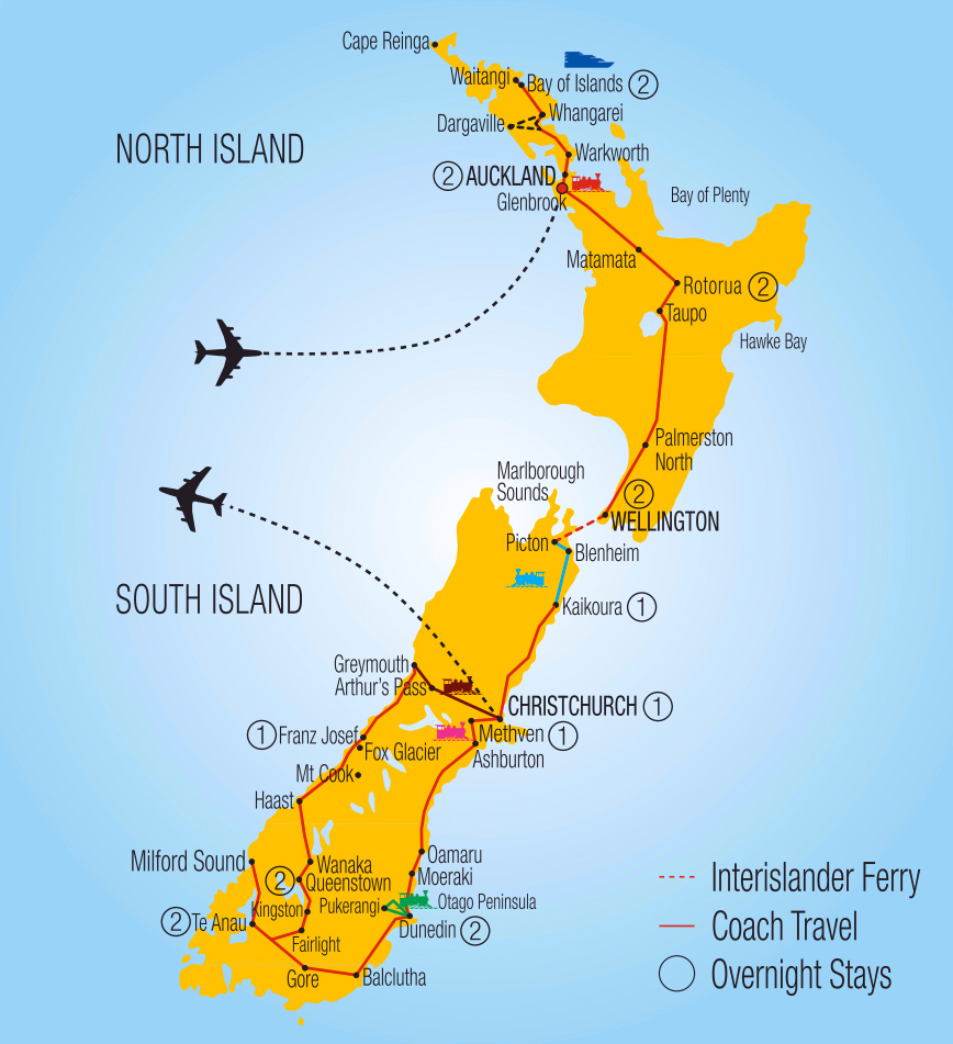 19 Day Rail Cruise and Coach Experience – New Zealand Tourist Map