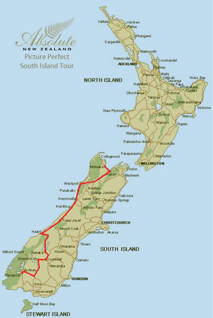 Printable Map Of South Island New Zealand.Picture Perfect 7 Days South Island Tour Luxury Travel In New Zealand